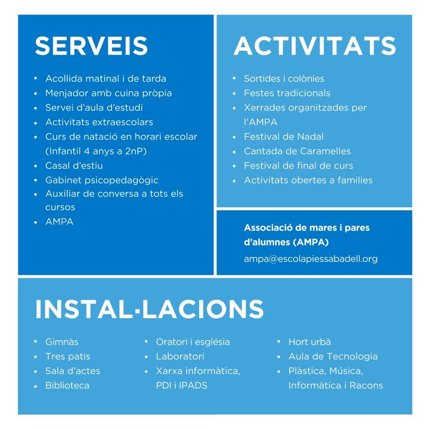 Escolàpies Sabadell Serveis, activitats i instal·lacions