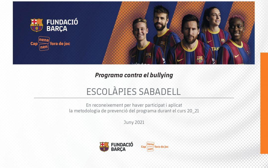 Programa-Contra-Bullying_Curs-20_21_Diploma__113_Escolapies-Sabadell
