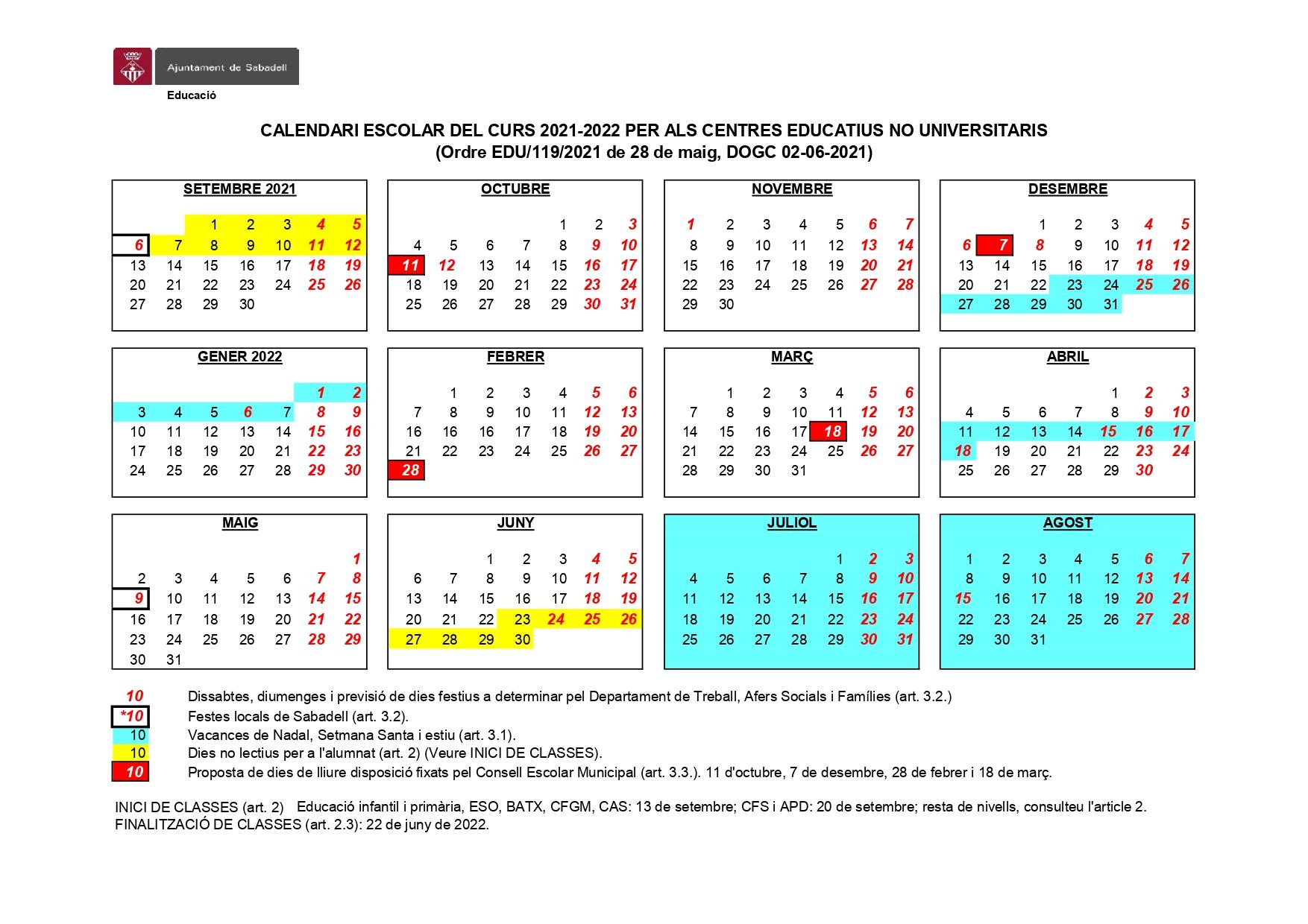 Escolàpies Sabadell Calendari escolar 2021-22